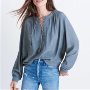 Madewell Blue Gray Lace Up Peasant Blouse NWOT